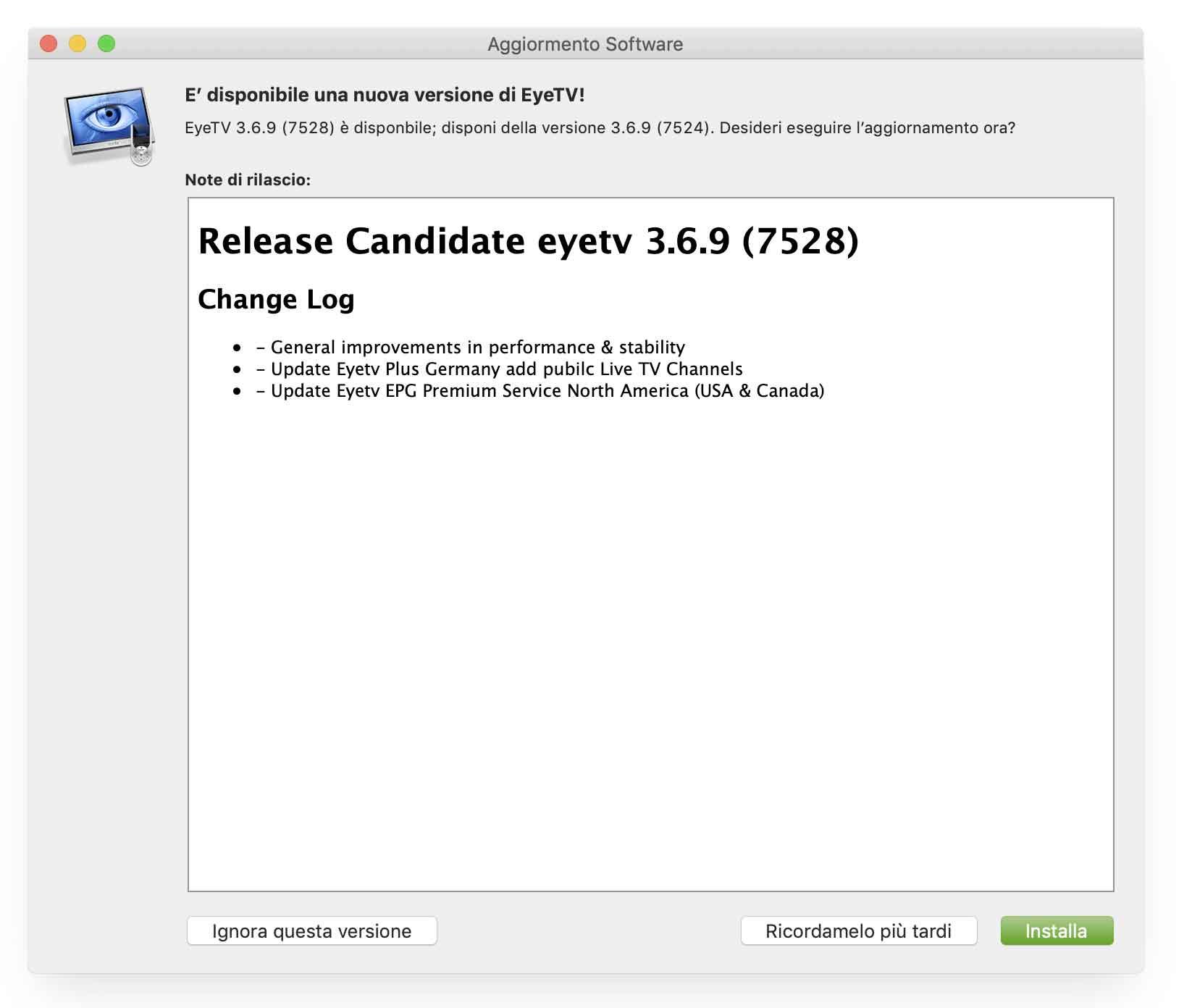 Aggiornata l'applicazione EyeTV per Mac