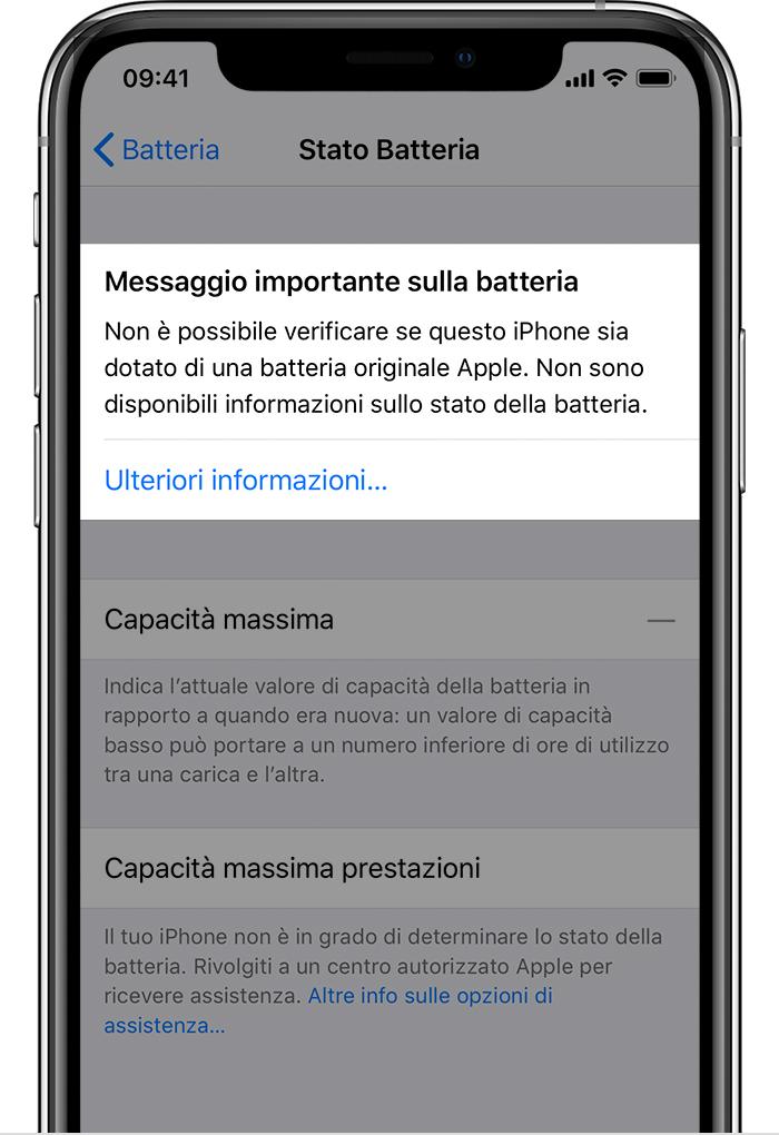 """Un messaggio in iOS mostra la scritta """"Servizio"""" quando si cambia la batteria scoraggiando la riparazione da terze parti"""