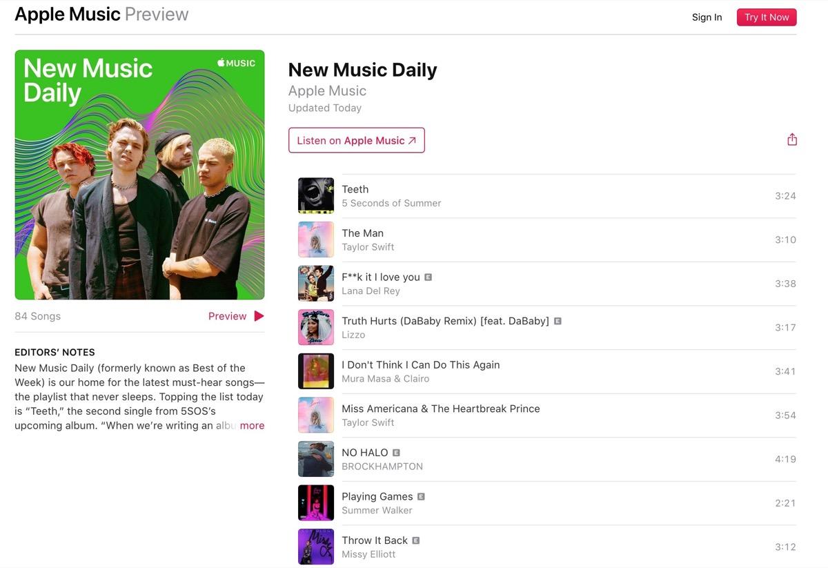 L'ultima playlist di Apple Music consiglia nuovi brani ogni giorno