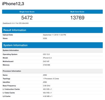 Benchmark iPhone 11 Pro, prestazioni multi-core da primato
