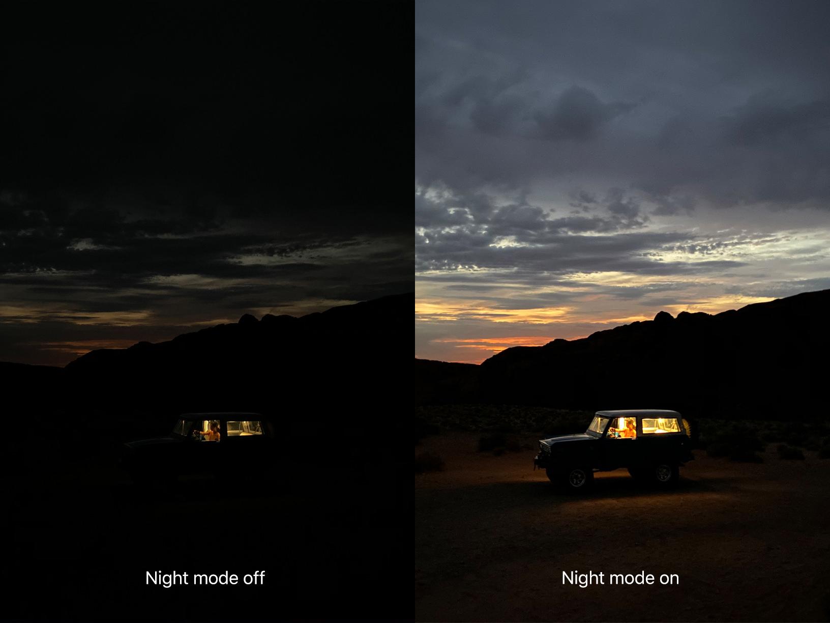 La modalità di scatto notturno migliora notevolmente le foto con scarsa luce