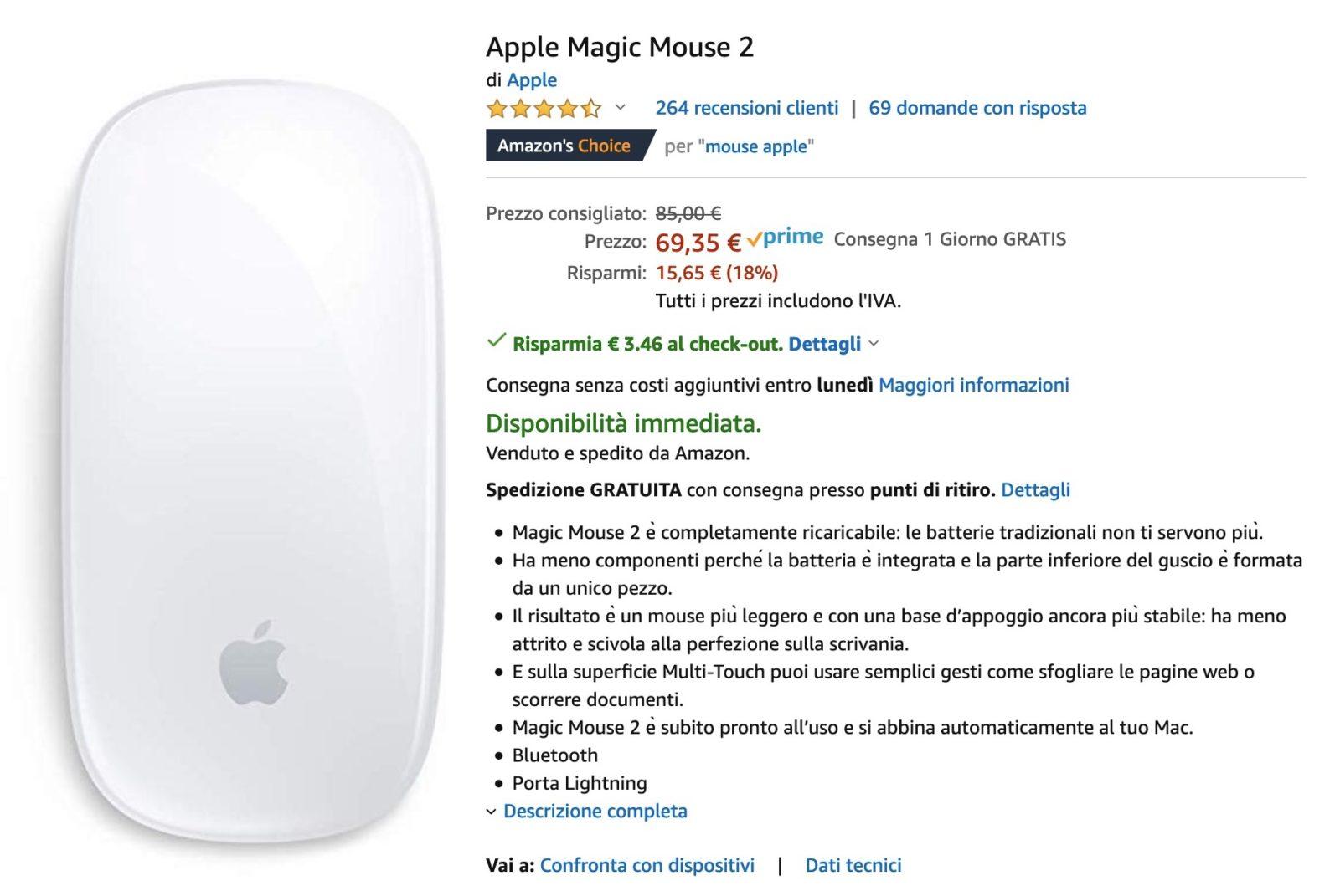 Magic Mouse 2 al prezzo più basso su Amazon: 65,88€