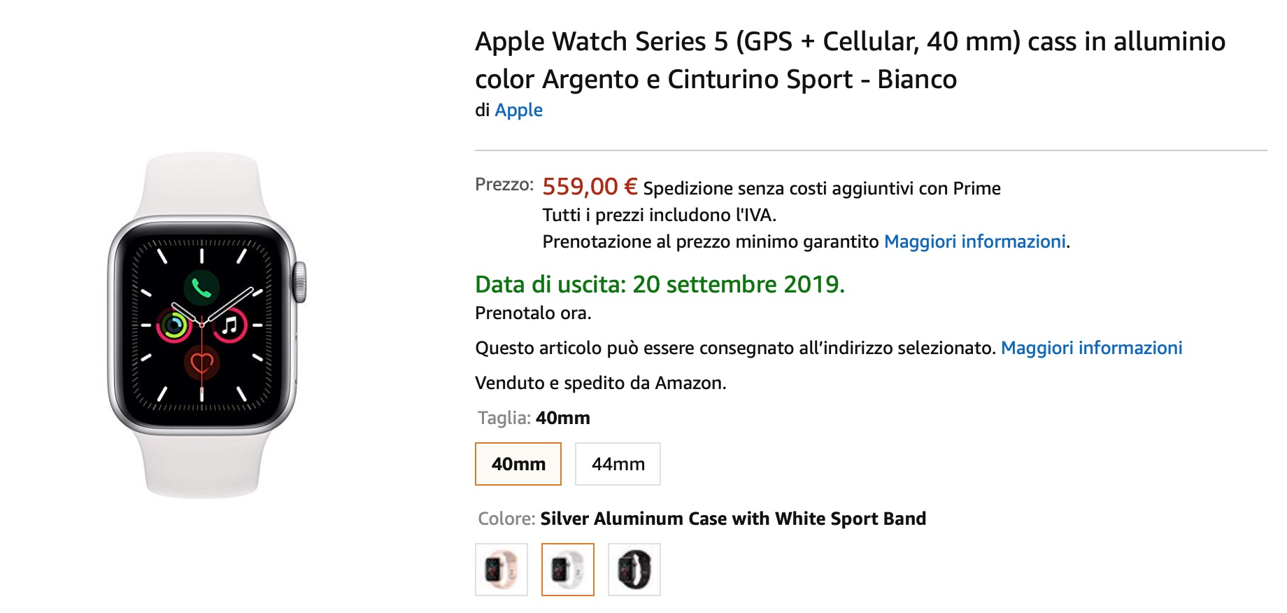 Apple Watch 5 già disponibile su Amazon