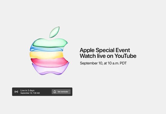 Il keynote Apple del 10 settembre sarà trasmesso in live streaming su YouTube