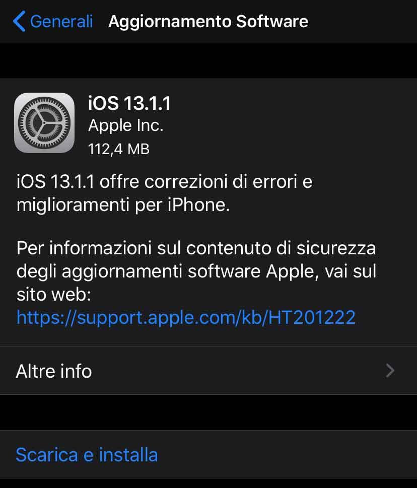 Disponibile aggiornamento a iOS 13.1.1
