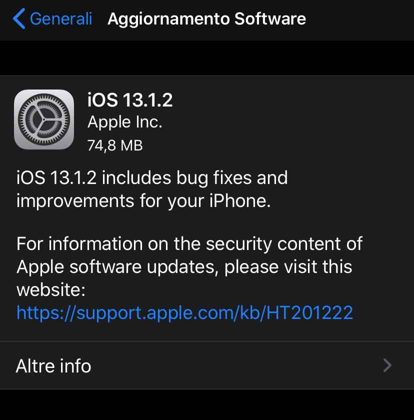 Disponibile aggiornmento a iOS 13.1.2 e iPadOS 13.1.2