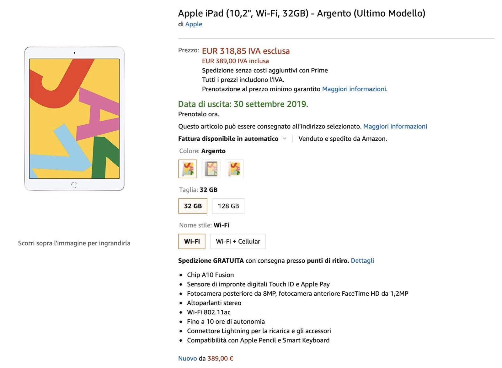 Nuovo iPad 10,2″ in preordine su Amazon: prezzo da 389€