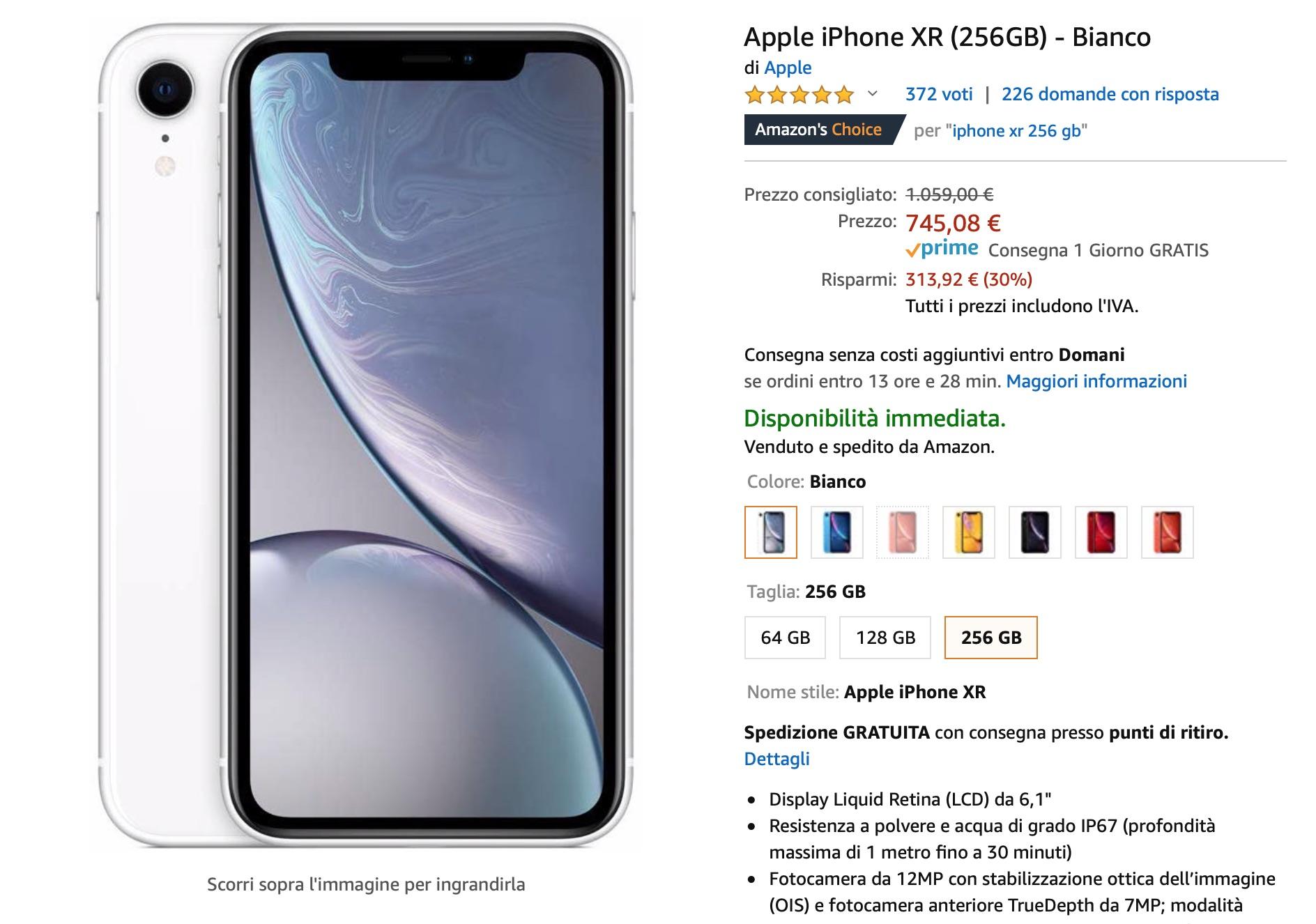 iPhone XR da 256 GB al prezzo della versione da 64 GB