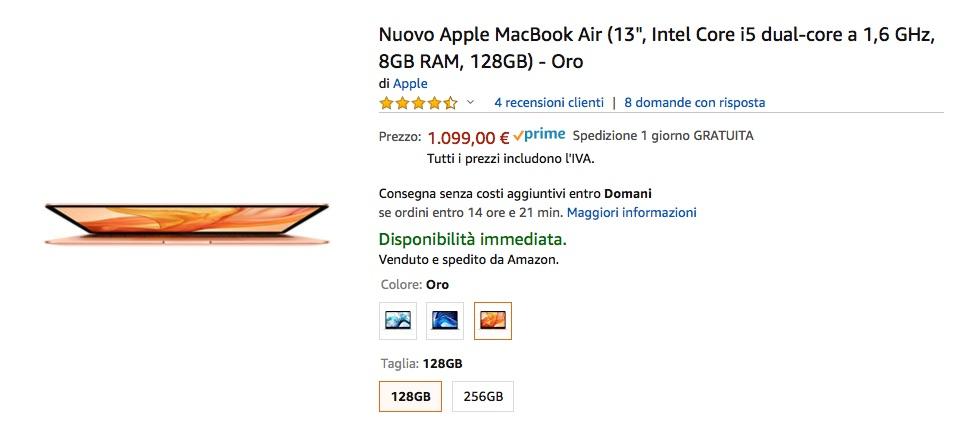 MacBook Air per il popolo: sconto a 1099€ su Amazon
