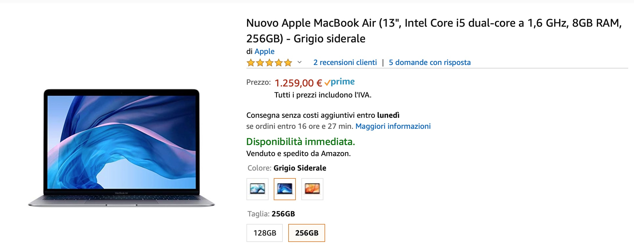 Nuovissimo MacBook Air 256 GB scontato di 270 €:  è il prezzo più basso
