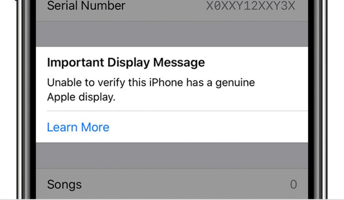 Una notifica sugli iPhone 11/Pro/Max riparati con uno schermo non originale