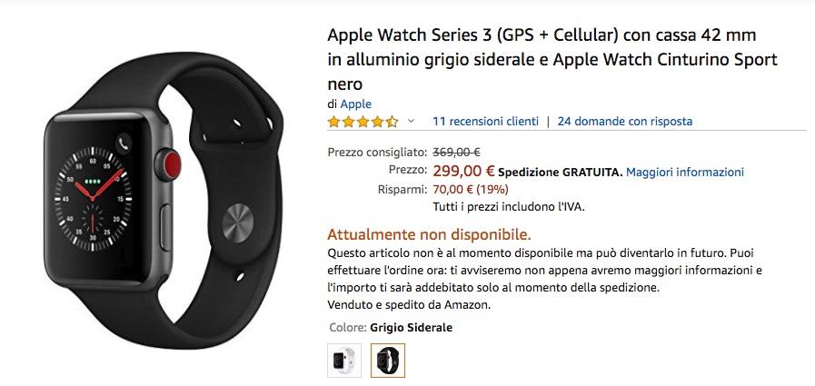 Apple Watch 3 GPS+Cellular al prezzo più basso? Su Amazon solo 299€