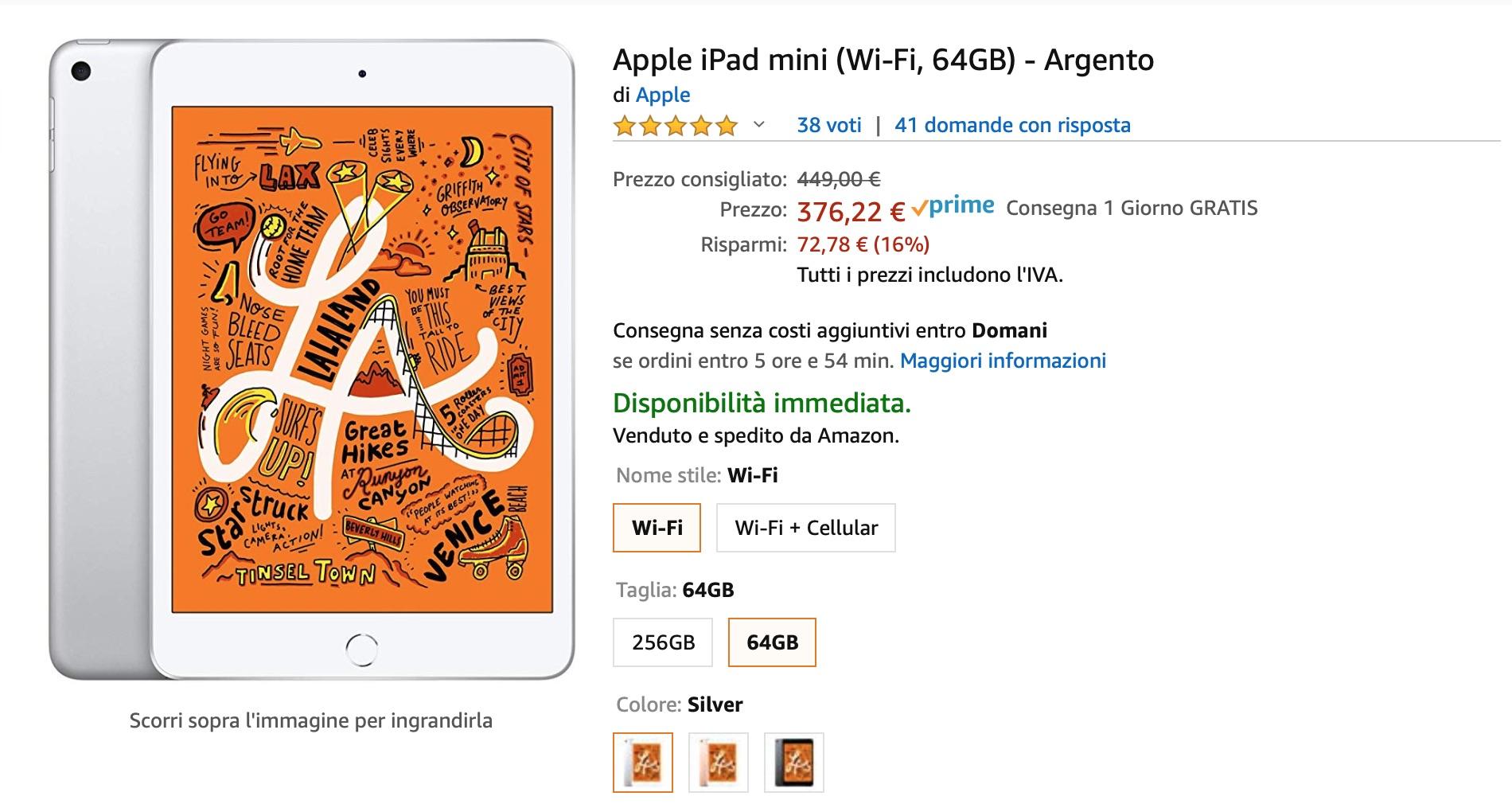 iPad mini 5 scontato del 17% su Amazon: prezzo da 37