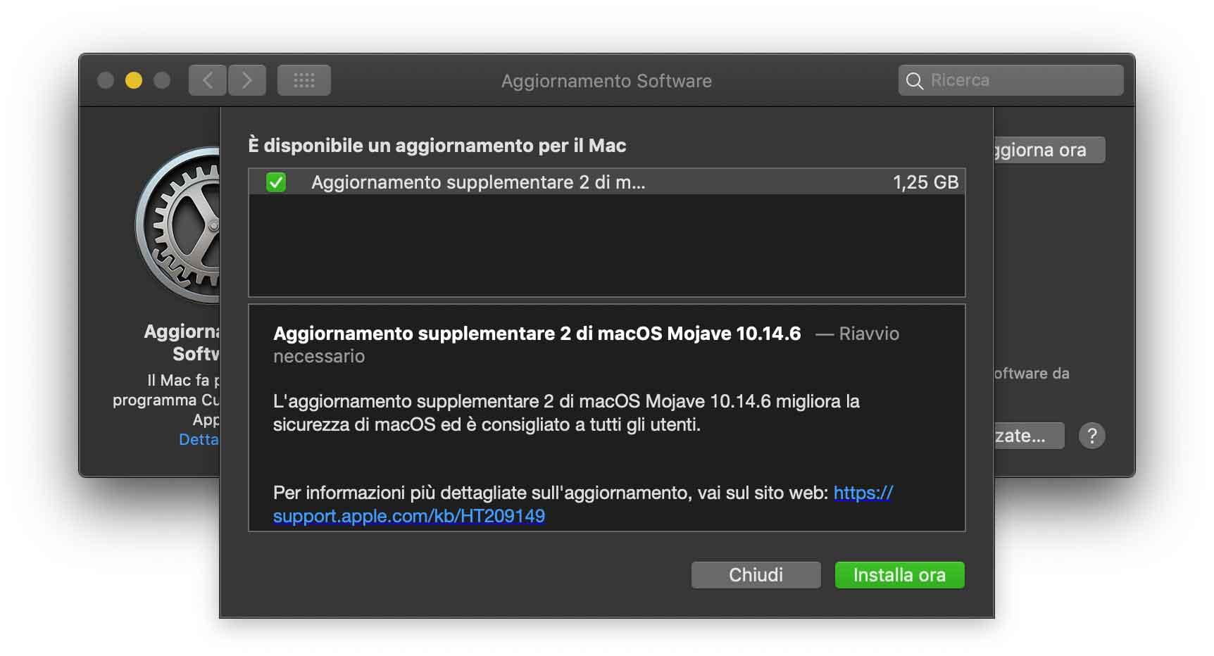 Apple ha rilasciato l'aggiornamento supplementare 2 di macOS Mojave 10.14.6