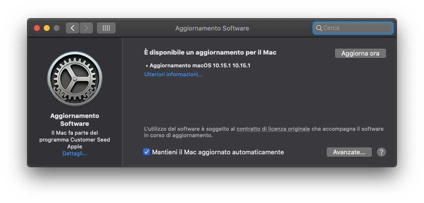 Disponibile l'update a macOS 10.15.1
