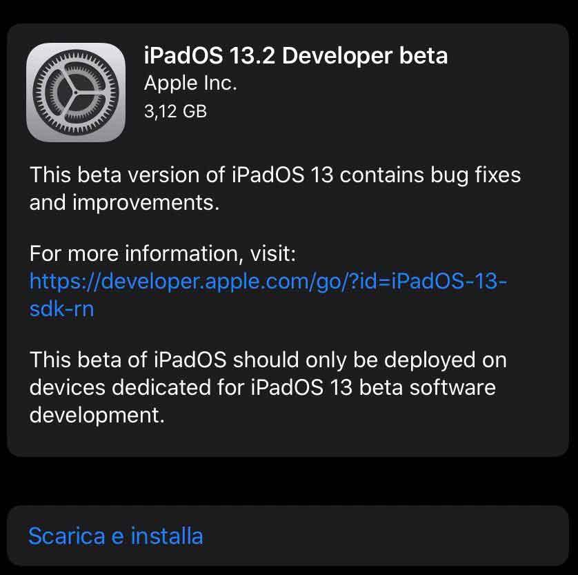 Disponibile per gli sviluppatori la beta di iOS 13.2 e iPadOS 13.2