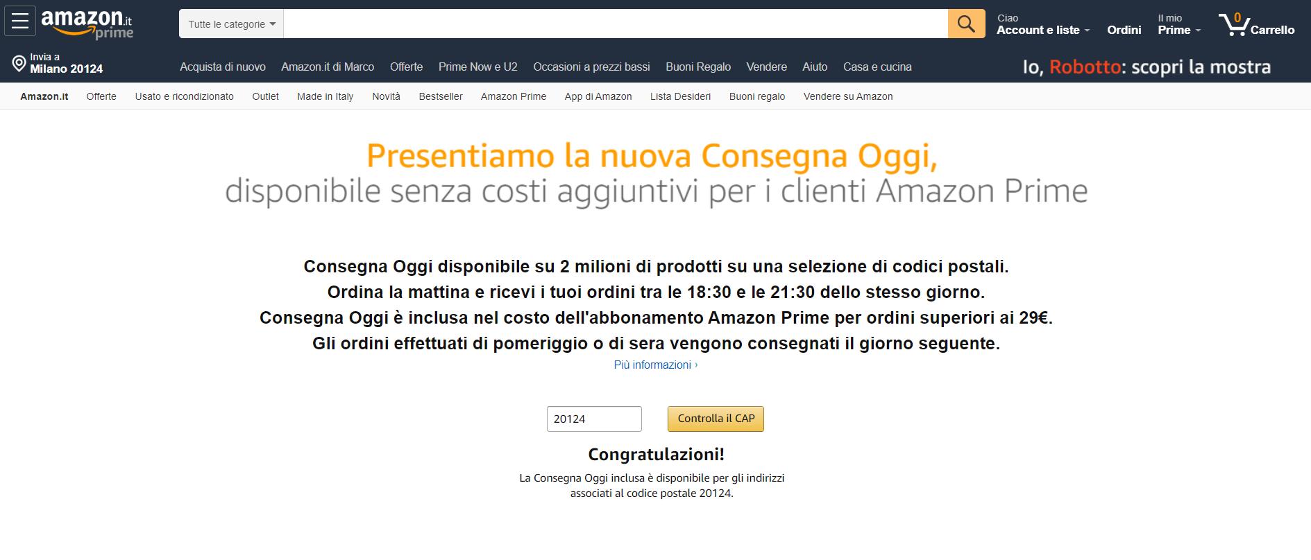 Amazon Consegna Oggi a Torino, migliaia di articoli a casa entro giornata