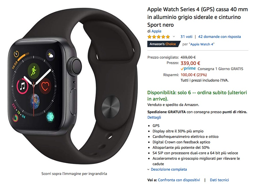 Apple Watch 4 40mm GPS scontato del 23%: 339 euro, pochi pezzi