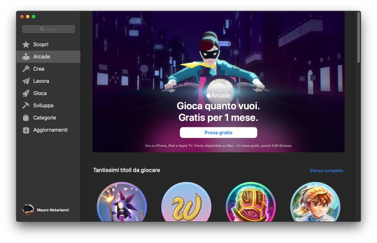 Apple Arcade pronto per gli utenti della beta di macOS Catalina