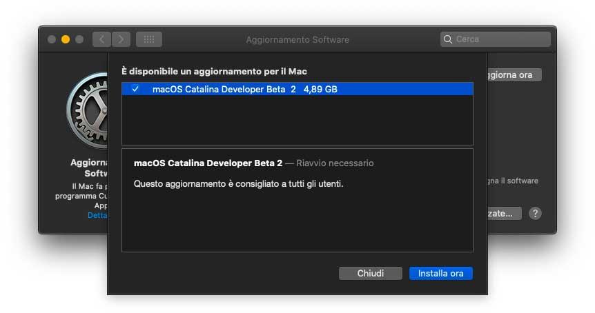 Apple ha rilasciato la seconda beta dell'update a macOS Catalina 10.15.1