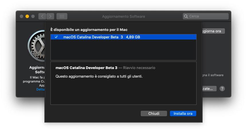 Apple ha rilasciato la terza beta dell'update a macOS Catalina 10.15.1