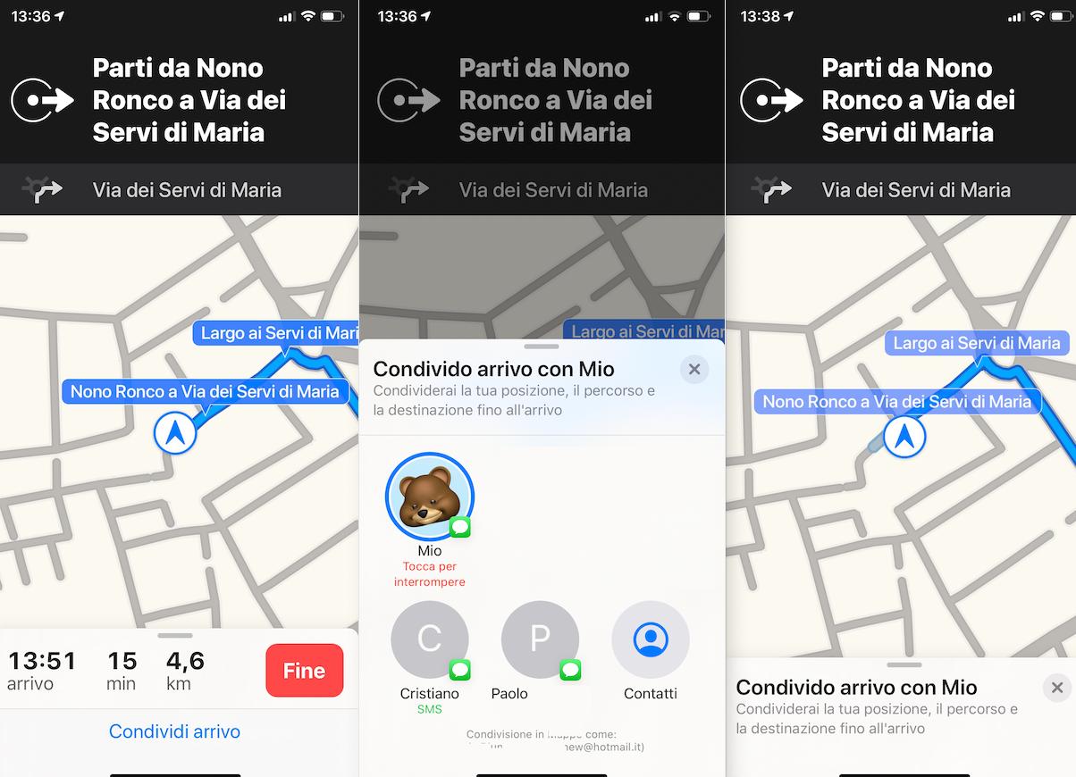 Come condividere il tempo stimato d'arrivo su Apple Maps