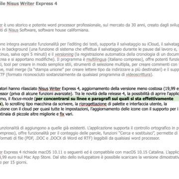 Disponibile Nisus Writer Express 4 per macOS