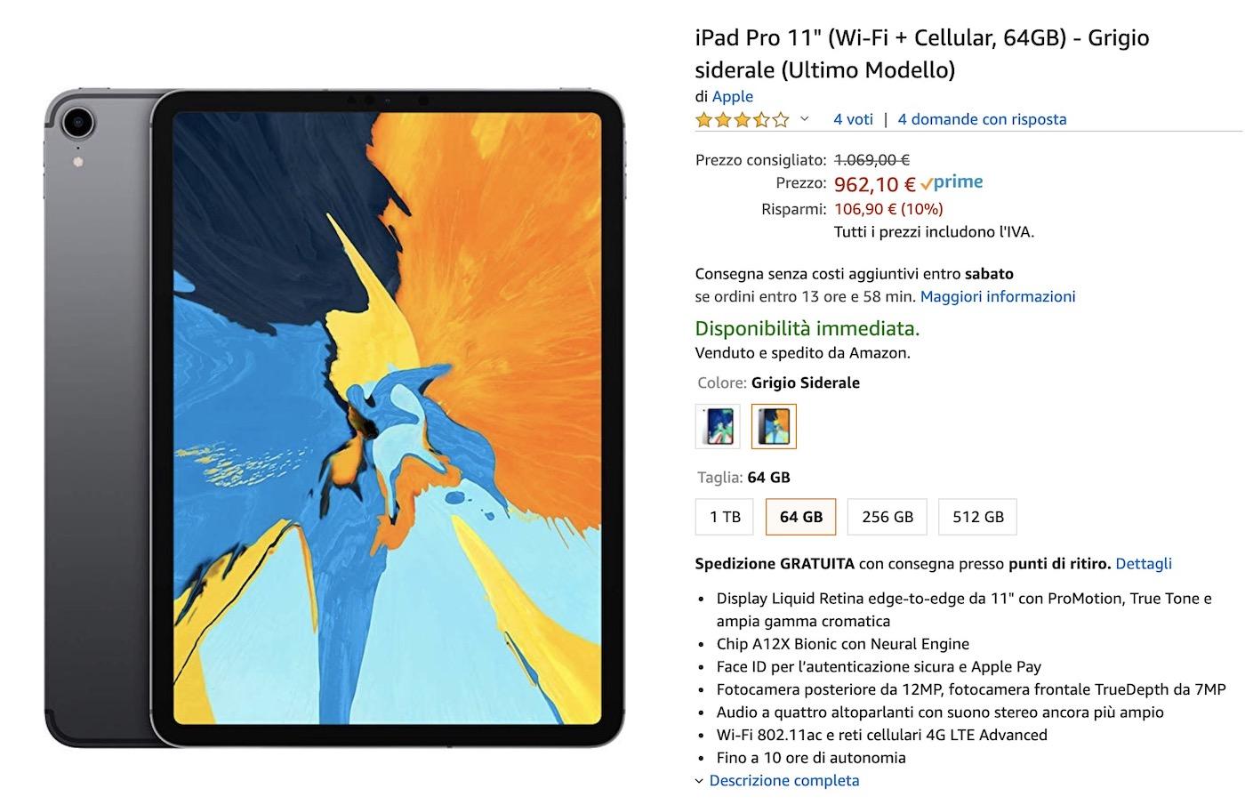 Sconto iPad Pro 11″ con rete cellulare: è al prezzo più basso, 969 €