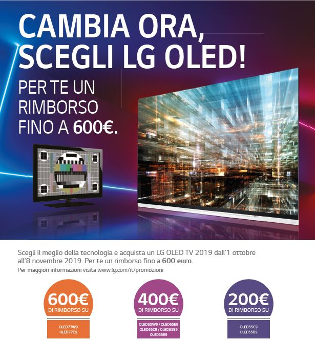 LG Electronics sconta fino a 600 euro sull'acquisto di una TV OLED 2019