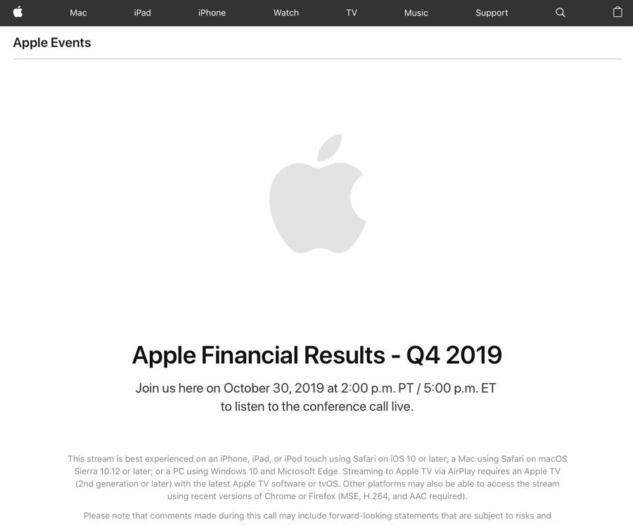 Occhi puntati sui risultati Apple Q4 2019, previsti buoni ma non spettacolari