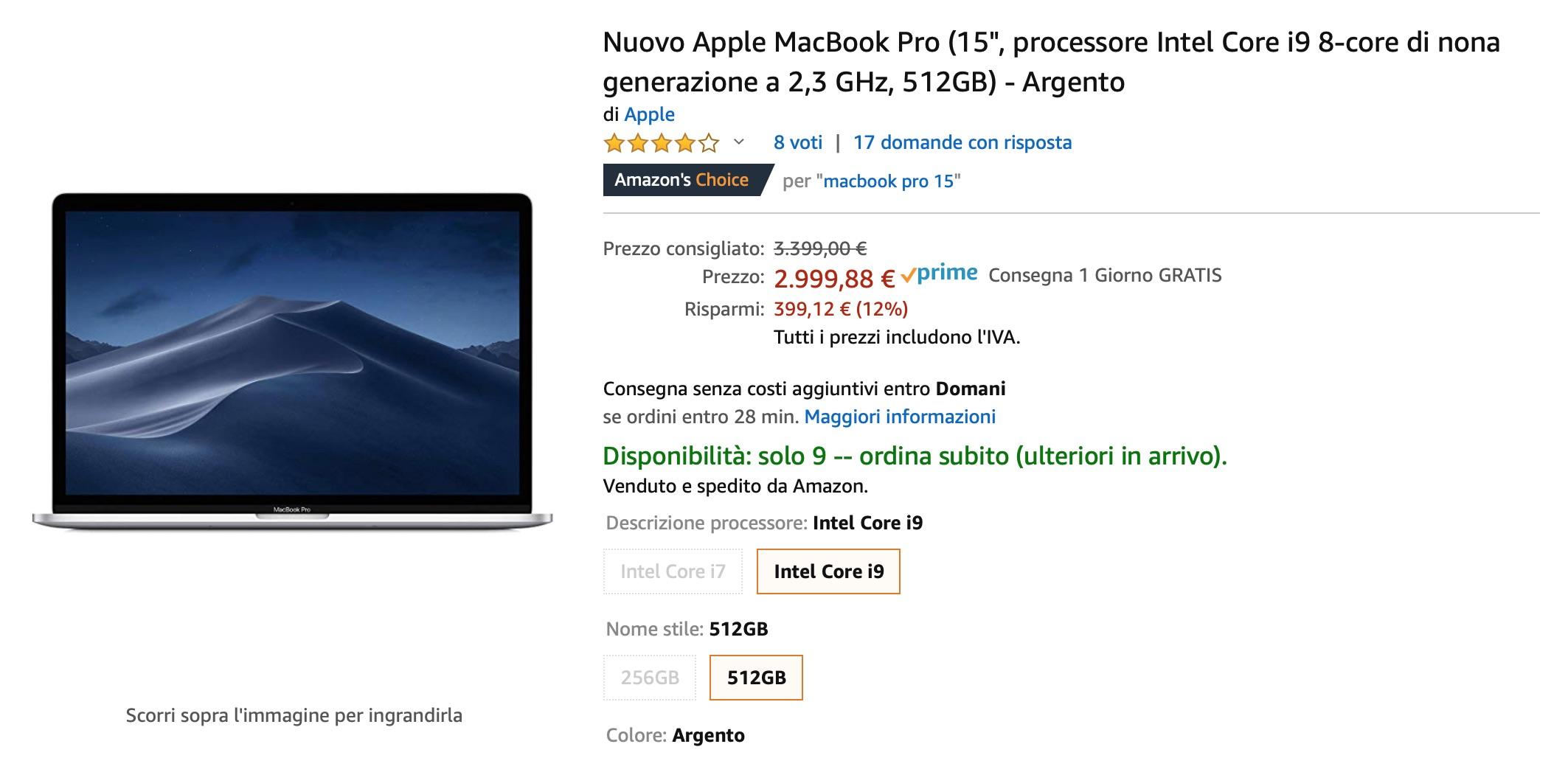 Sconto sul MacBook Pro 15″ 512 GB: risparmiate 400 euro