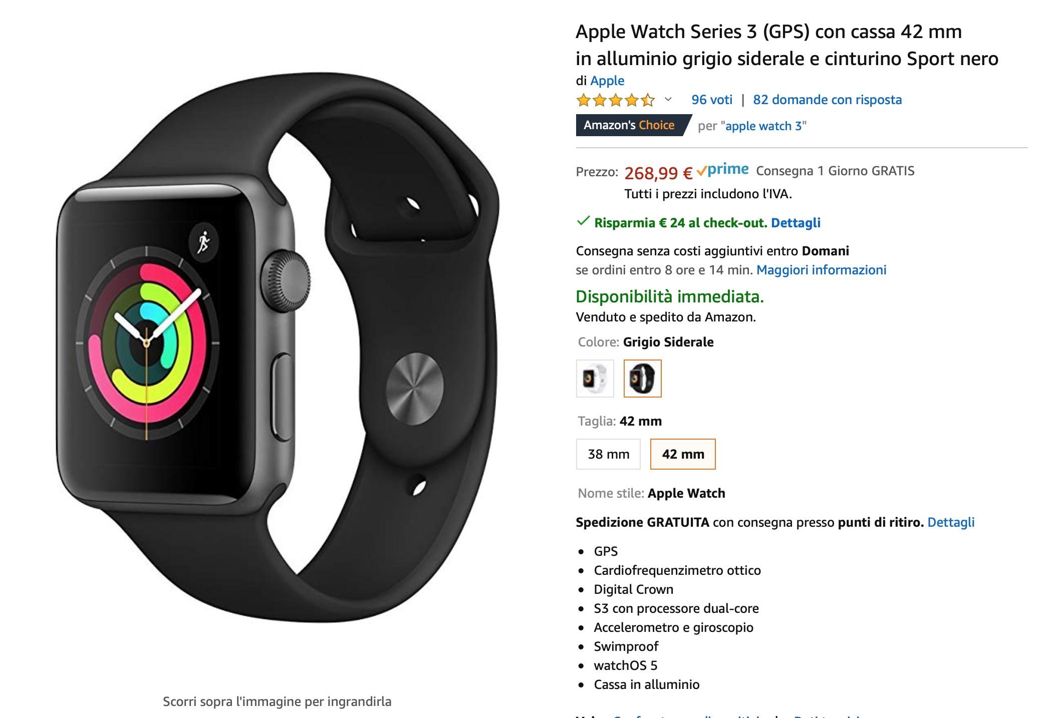 """Amazon sconti """"segreto"""" per Apple Watch 5 e Apple Watch 3: prezzi da 245€"""