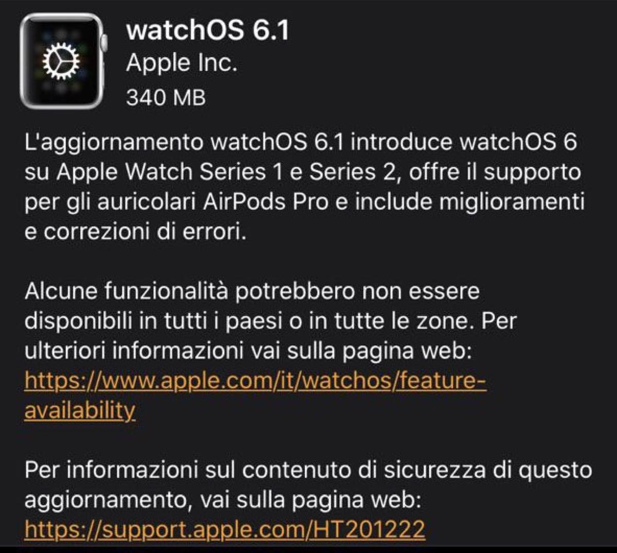 E' arrivato watchOS 6.1 e adesso gira anche sul primo Apple Watch