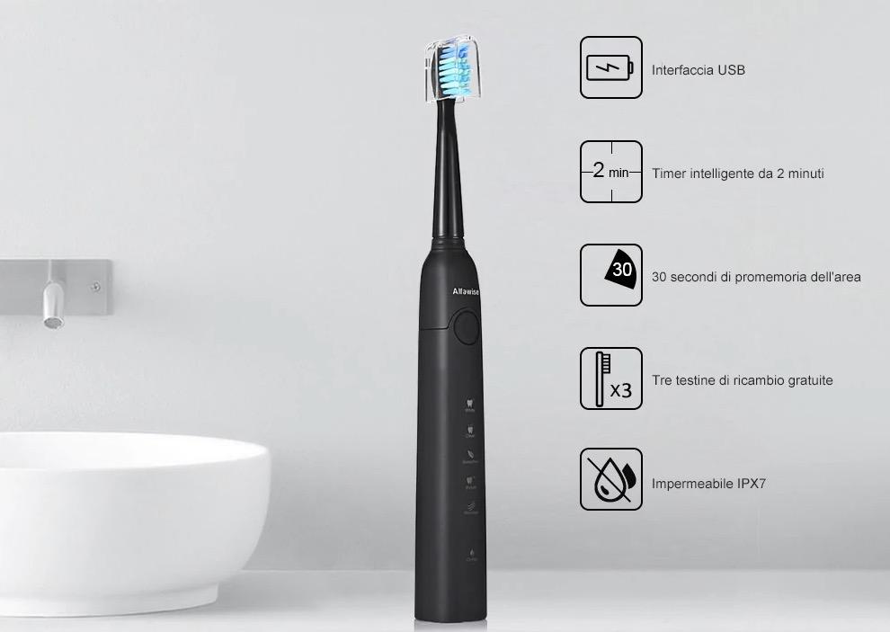 Sconto su spazzolino elettrico Alfawise SG – 949 e testine di ricambio