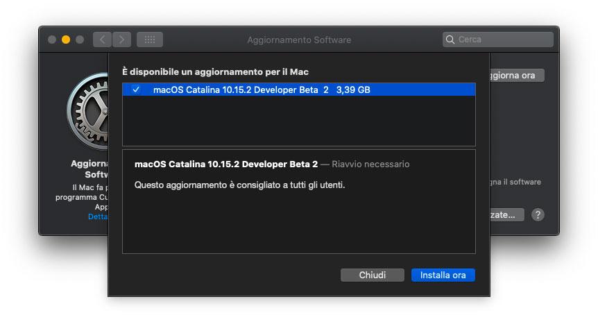 Seconda beta di macOS 10.15.2 agli sviluppatori