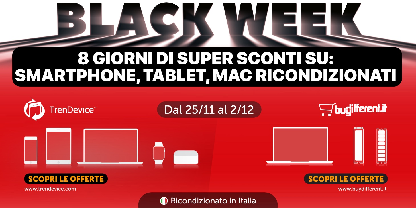 Sconti Black Week: iPhone 7 da 184,90€ e iPhone X da 479,90€. Su TrenDevice fino ad esaurimento scorte