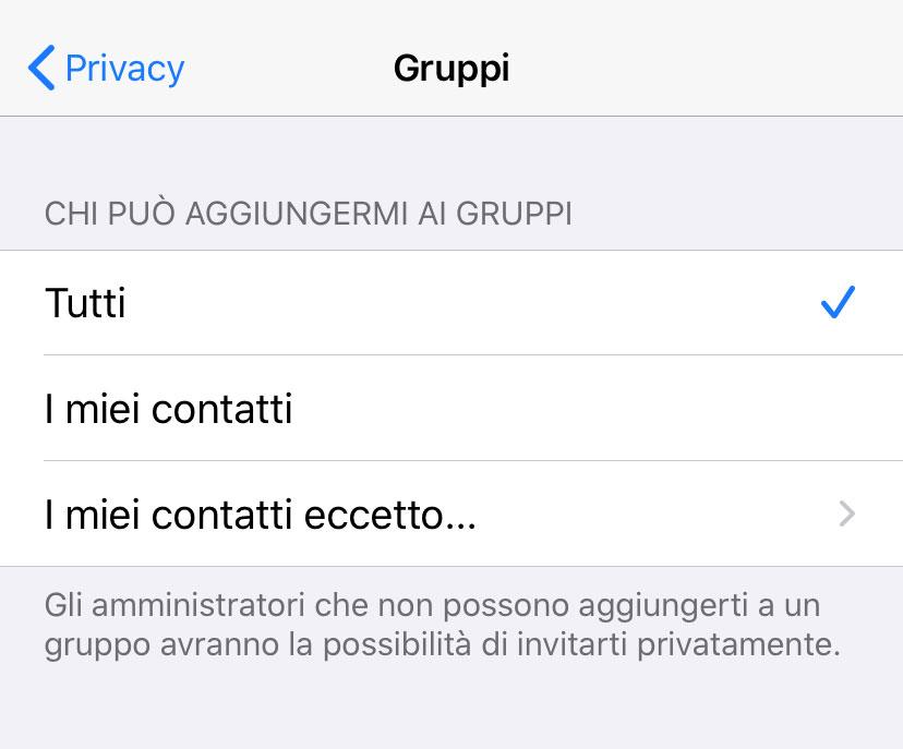 WhatsApp ora permette di controllare chi può aggiungergi a un gruppo