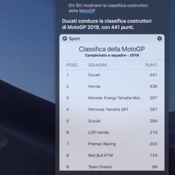 Siri finalmente sa rispondere alle domande sulla MotoGP