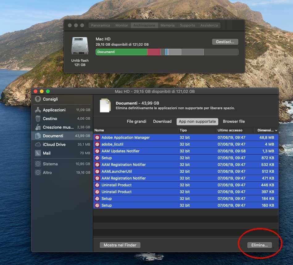 Con macOS Catalina si possono eliminare in un solo colpo le vecchie app a 32 bit