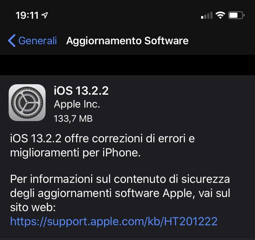 Disponibile iOS 13.2.2, risolto il bug delle app in background
