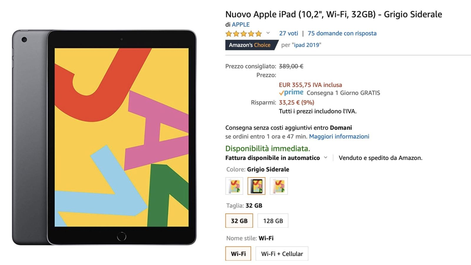 Tablet low cost su Amazon: iPad 341 €, iPad Air 499 €, i prezzi migliori del mercato