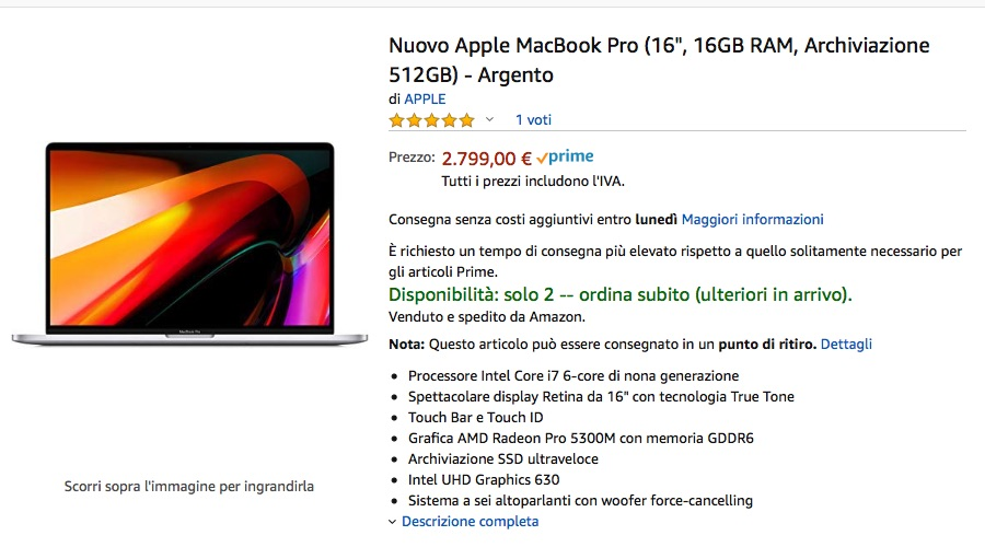 MacBook Pro 16″ pronta spedizione su Amazon: tre disponibili