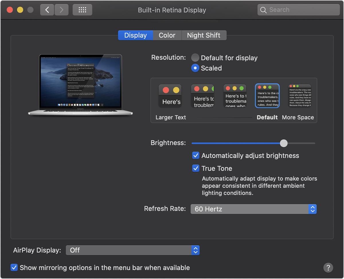 frequenza aggiornamento display di MacBook Pro 16 pollici