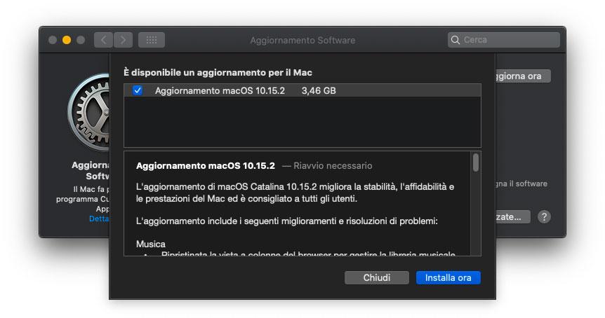 Disponibile l'aggiornamento a macOS Catalina 10.15.2