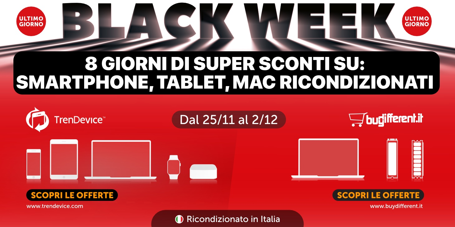 Ultimo giorno Sconti Black Week: Smartphone, Tablet e Mac Ricondizionati in offerta limitata su TrenDevice e BuyDifferent
