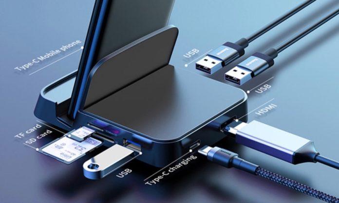 Hub USB-C per smartphone con sette-funzioni-in-uno e supporto a 34,40 euro