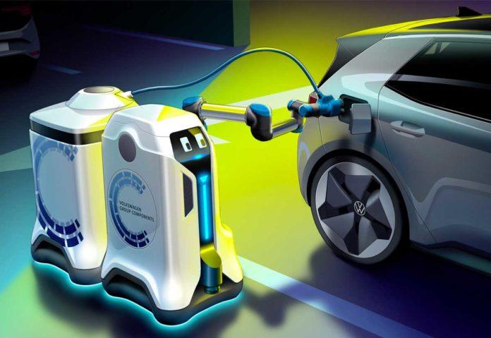 Volkswagen ha creato un robot che ricarica le auto elettriche parcheggiate