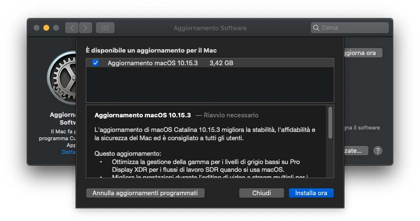 Disponibile l'update a macOS 10.15.3