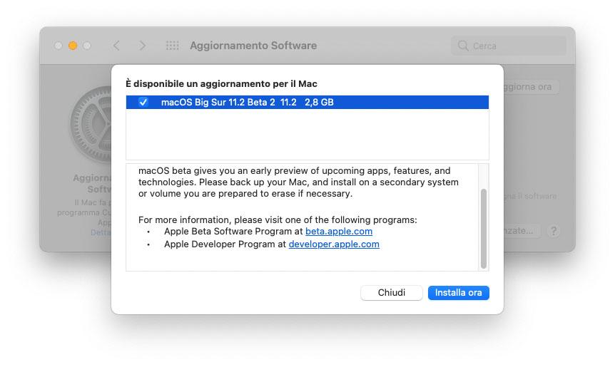 Seconda beta di macOS 11.2 agli sviluppatori