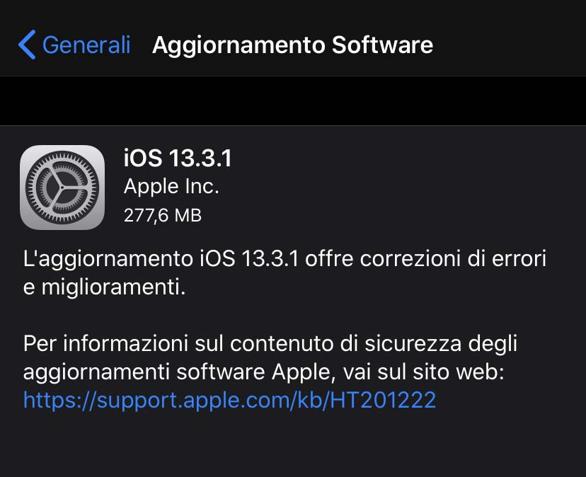 Apple ha rilasciato l'aggiornamento a iOS 13.3.1 e iPadOS 13.3.1